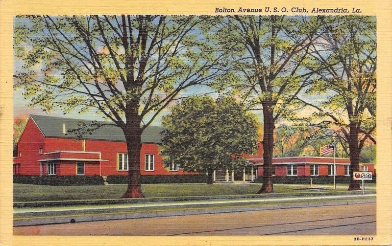 Alexandria Louisiana~Bolton Avenue USO Club~Art Deco Building~WWII 1943 Linen PC