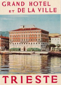 Italy Trieste Geand Hotel Et De La Ville Vintage Luggage Label sk4628