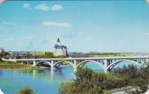 Canada Saskatoon Broadway Bridge & Bessborough Hotel In Background 1959