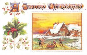A Joyous Christmas, sledge, winter scene, mistletoe