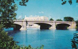 Street Bridge White River Showing U S Naval Armory Indianapolis Indiana