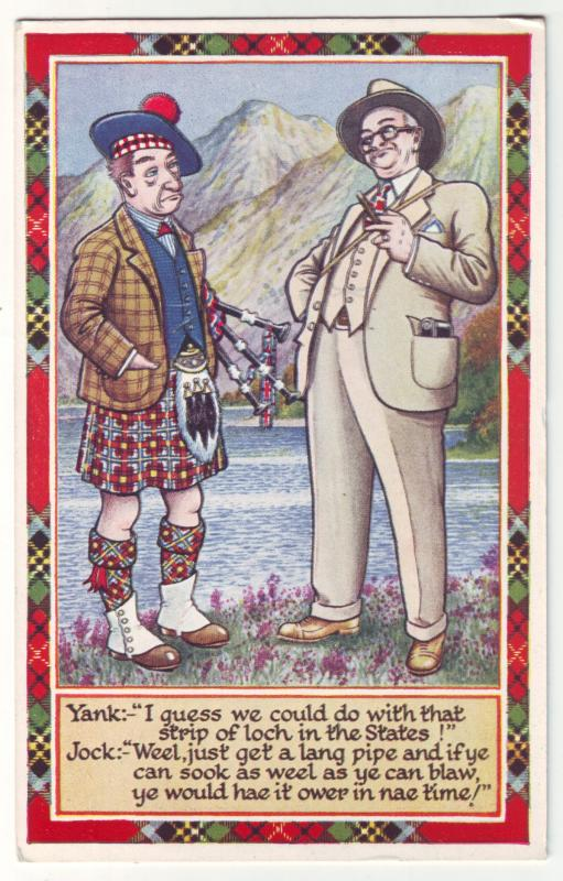 P926 old comic card yank and jock comments scottish