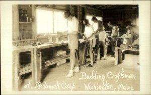 Washington ME Medomak Boys Camp Wood Working Craftsmen Real Photo Postcard