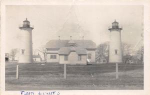 D71/ Chatham Massachusetts Ma RPPC Real Photo Postcard c60s Twin Lighthouse