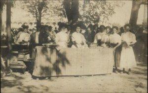Women Picnic Cake Baking Contest SD Written on Back Real Photo Postcard c1910