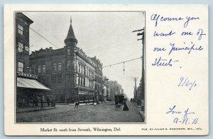 Postcard DE Wilmington c1905 View Market Street South From Seventh W1