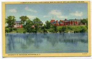River Campus University of Rochester New York 1948 linen postcard