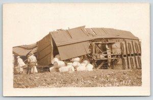 RPPC~Big Four Train Derailment & Wreck~Boxcar Full of Barrels~May 14th, 1917 PC