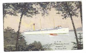 AS, Steamer/Ship, C. P. R. Great Lakes Steamer Keewatin In St. Marys River,...