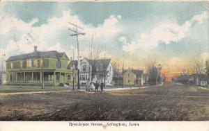 Iowa IA Postcard c1910 ARLINGTON Residence Scene Homes People