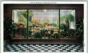 Chicago Advertising Postcard MANGEL FLORIST Window Display Hotels 1935 Cancel