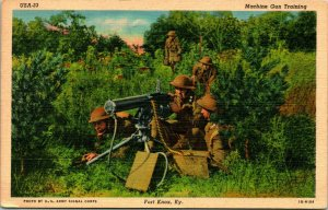 Vtg Lin Carte Postale Fort Knox Kentucky Ky - Machine Pistolet Entraînement Neuf