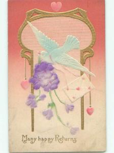 Pre-Linen art nouveau EMBOSSED DOVE BIRD WITH CARD AND HEARTS AND FLOWERS k8611