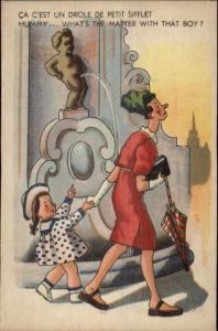 Bathroom Humor Manneken-Pis Peeing Statue & Amused Tourists Postcard #10