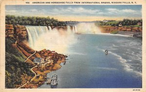 American and Horseshoe Falls from international bridge Niagara Falls 1934