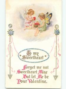 Pre-Linen Valentine CUPIDS WITH DIFFERENT COLORED WINGS AB2864