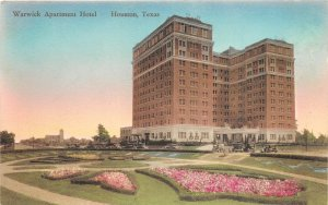 G22/ Houston Texas Postcard c1910 Warwick Apartment Hotel Building