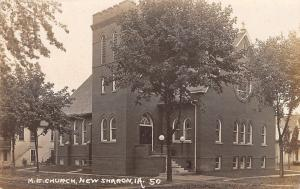 New Sharon Iowa~Methodist Episcopal Church~Houses Both Side~1914 Real Photo~RPPC