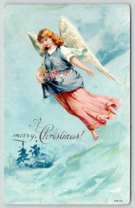 Christmas~Pink Lavender Angel Lady Carries Roses in Skirt~Clouds~Evergreen~Snow