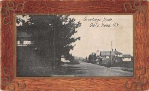 Owl's Head New York Greetings From residential street antique pc Z51009
