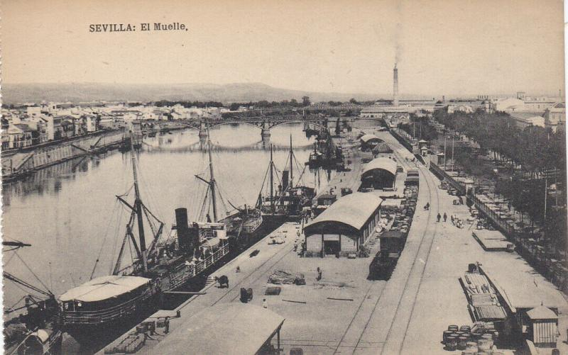 SEVILLA (Andalucia), Spain, 1900-1910s; El Muelle, Ships, Railcars on tracks