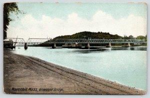 Haverhill Massachusetts~Groveland Multi Span Bridge~View Along Bank~c1910