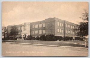 Malvern Arkansas~Malvern High School~Mailbox on Curb~1930s Sepia Collotype PC