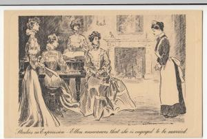 Comic; Studies In Expression, Ellen Announces That She Is Engaged PPC, c 1900's