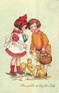 Eastertide Greeting Children Feeding Chicks Antique Postcard V17996