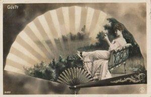 RP: Art Nouveau Fan Portrait , PU-1907 ; GUETT