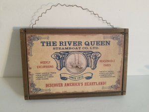 8 1/2 X 5 1/2 THE RIVER QUEEN STEAMBOAT CO.LTD WOODEN WALL PLAQUE.