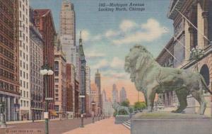Illinois Chicago Michigan Avenue Looking North 1955 Curteich