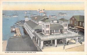 Miami Florida~Elser Pier~Biscayne Bay~Trip 15c~1920s Postcard