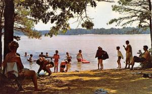 Bass River State Park New Jersey~Lake Absegami Bathing Beach~1960s Postcard