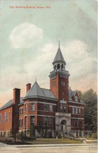 Bowling Green Ohio~City Building~Tall Steeple~Arched Doorway~1908 Postcard