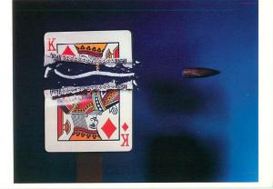 Bullet Cutting Card in Half Deck of Cards King of Diamonds  Postcard  # 6145