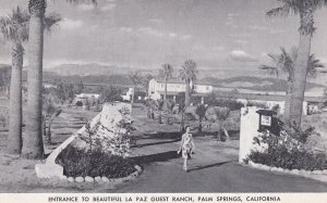PALM SPRINGS, California, 1930-1950s; Entrance To Beautiful La Paz Guest Ranch