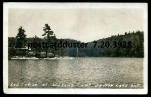 3928 - CRUTCH LAKE Ontario 1940 Wilson's Camp Log Cabins. Real Photo Postcard