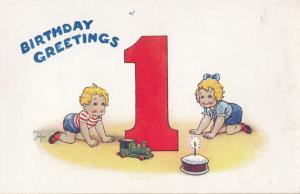 Toy Model Train Happy 1st Birthday Childrems Railway Greetings Old Postcard