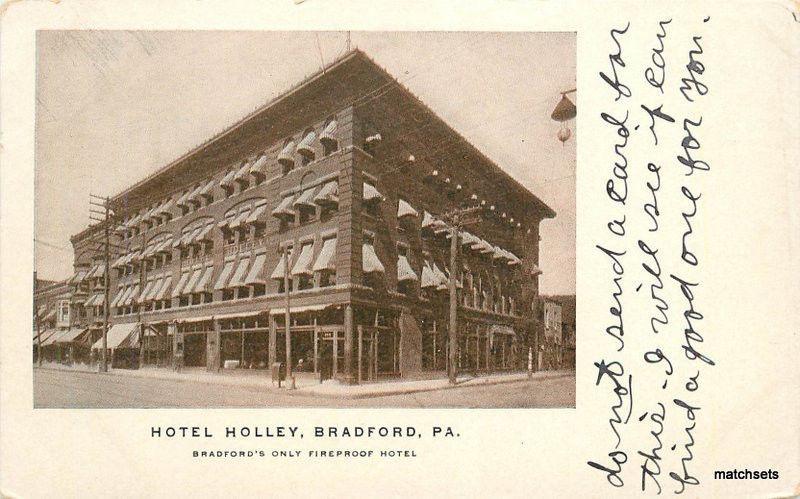 C 1910 Bradford Pa Hotel Holley Postcard 12291