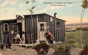 C16/ Cando North Dakota ND Postcard 1913 Bachelor's Dream Cabin Frontier