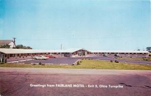 Perrysburg Ohio~Fairlane Motel~Exit 5 Ohio Turnpike~Nice 1950sCars Post Card