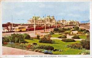 SOUTHSEA HAMPSHIRE ENGLAND~SOUTH PARADE PIER GARDENS-BUS LINEUP POSTCARD