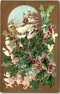 Postcard Christmas Greetings Xmas Holly House Snow Gold Background 1909 AB20