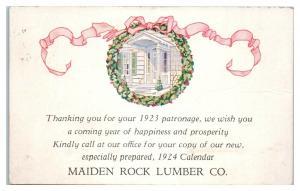 1923 Maiden Rock Lumber Co. Postcard *5E5