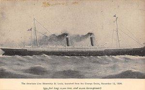 USMS St Louis American Line Ship Unused