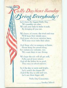 Pre-Linen patriotic USA FLAG FOR RALLY DAY k8305