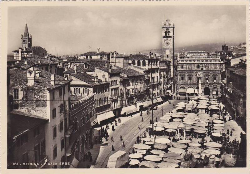 RP, Street View, Piazza Erbe, Verona (Veneto), Italy, 1920-1940s