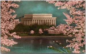Washington DC Hand-Colored Postcard LINCOLN MEMORIAL Cherry Blossoms / Albertype