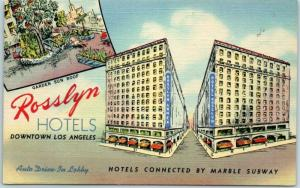 California Postcard ROSSLYN HOTELS Connected by Marble Subway Linen c1950s